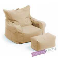 Beige Budget Bean Bag Chair + Foot Stool Gamer Armchair Garden Beanbag Seating