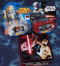 Star Wars Tin Storage Box  & 2 NEW In Pkg Star Wars Hot-wheels - Boba & Chopper