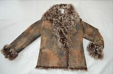 PLEIN SUD CURLY LAMBSKIN SHEARLING LEATHER FITTED JACKET COAT BROWN SIZE 8