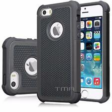 iPhone SE 5 5S Hybrid Impact Shock Proof Rugged Hard Shell Case Cover - Black