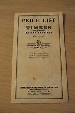 """1937 PRICE LIST for """"TIMKEN Tapered ROLLER BEARINGS""""~Canton OH~"""