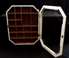 Off White Hand Painted Curio Display Cabinet Glass Door 22 Shelves Miniatures