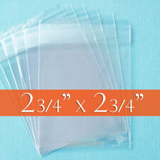 100 Clear Cello Bags, 2 3/4 x 2 3/4 inch OPP Poly Cellophane,Resealable Adhesive