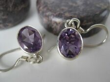 Amethyst Silver Earrings ~ Facet cut oval gems, bright!