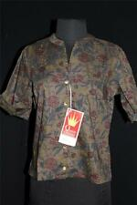 Rare Deadstock Never Worn 1960'S Dark Print Cotton Poly Floral Blouse Size 36-38