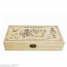 Vintage style Wooden sewing box Make do and mend storage box basket gift.