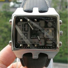 OHSEN Black Smart Digital Water Resistant BackLight Soft Leather Wrist Watches