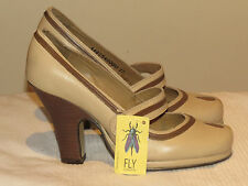 "FLY LONDON DESIGNER LEATHER MARY JANE SHOES 3.5"" HEELS UK 4 EUR 37 BNWOB RRP £85"