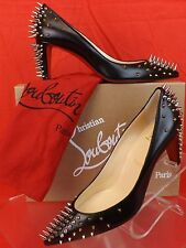 NIB LOUBOUTIN GOLDOPUMP 70 BLACK  LEATHER MULTI STUDDED SPIKES PUMPS 38 $1095