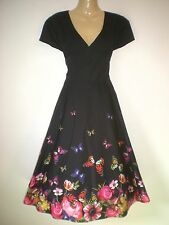 NEW VINTAGE 50'S STYLE BLACK BUTTERFLY PRINT PARTY SWING DRESS SIZE 10