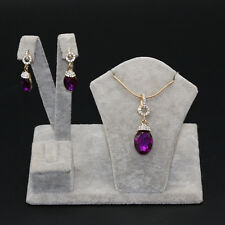 Banquet Gold Amethyst Sapphire Jewelry Set Dangle Earrings&Pendant Necklace Gift