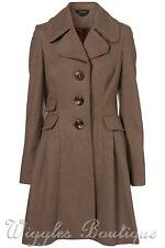 Topshop Premium Vintage Fit and Flare Skirted Coat - Oatmeal UK8/EU36/US4 BNWT