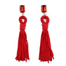 Boucles d`Oreilles Clous Doré Pompon Cotton Tassel Rouge Ethnique Retro BB12