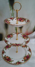 "Royal ALBERT ""Old Country Roses"" medie dimensioni 3-Tier cake stand-Ridotto a Trasparente"