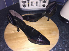 Vintage Prada Ladies Brown black Leather court shoes UK 5.5  EU 38.5