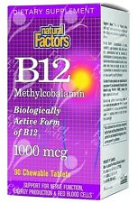Pure Chewable Vitamin B12 Methylcobalamin, Methyl B12 - 1000mcg x90tabs