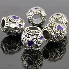 5Pcs White Gold Plated Silver Crystal Purple Heart Beads Fit European Bracelet