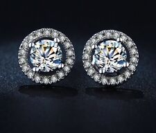 White Gold Plate Silver Pave Crystal/Cubic Zirconia Diamonte Round Halo Earrings