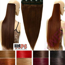 Long 100% Real Pieces Clip In Remy Human Hair Extensions Straight One Piece F880
