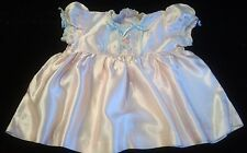 Vintage Hand Sewn Pink Satiny Baby Dress, 6-12 Mos.–Embroidery, Lace, Ribbons