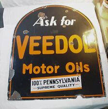 RARE OLD DOUBLE-SIDED ASK FOR VEEDOL MOTOR OILS TOMBSTONE SHAPED PORCELAIN SIGN