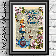 Dictionary book page Mounted Alice in Wonderland Tea time flowers wall decor
