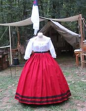 CIVIL WAR DRESS~VICTORIAN STYLE 100% COTTON SOLID BRICK RED SKIRT WITH DS WAIST