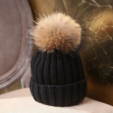 Ladies Womens Winter Wool Knitted Hat Fur Pom Beanie Ski Hat Cap new multi-color