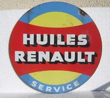 Renault , plaque émaillée ronde , authentique
