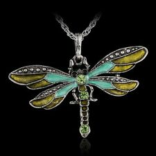 Retro Silver Jewelry Necklace Pendant Dragonfly Crystal Sweater Chain Fashion