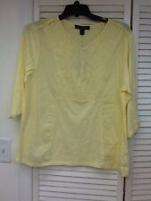 Gorgeous Pull over 3/4 Slv. tunic top, Soft yellow with front detail,S P XL, NWT