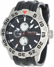 Nautica Men's BFD 100 Black Rubber Strap Multifunction Dial Sport Watch A15564G