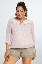NWT Torrid Plus Size 3X Floral Lace Inset Blouse Carreer Casual Boho (III68)