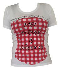 Shirts Damen Trachtenblusen Trachtenshirts  T-Shirt Freizeitshirst Weiß Rot XXL