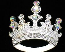 SILVER TONE AB RHINESTONE PRINCESS TIARA  BEAUTY PAGEANT CROWN PIN BROOCH 1.25""