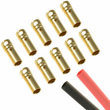 10 x RC 3.5mm Gold Bullet Female Connector + Heat Shrink Car Motor ESC