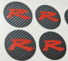 Honda 4 x Carbon Centre Cap Red R Stickers Decal Civic FN2 Type R K20 JDM OEM