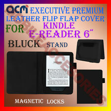 "ACM-EXECUTIVE LEATHER FLIP CASE for KINDLE E-READER 6"" TABLET COVER STAND-BLACK"
