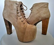 "Jeffrey Campbell  Platform Tan Suede Lace-Up Ankle Boot ""Lita"" Size 8"