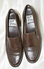 Just Libby Pasha Brown Leather Shoes Chunky Heel Loafers 6 M Store Return