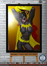 Sexy Batgirl, Red Sky at Night -  Special Edition Original Comic Art A3 Print