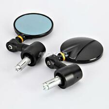 "Black Motorcycle Bike Round Rear Side View 7/8"" Bar End CNC Mirrors Universal"