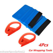 4Pc Vinyl Safety Cutter & Felt Edge Squeegee Scraper Kit Auto Car Wrapping Tools