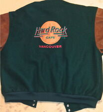 Hard Rock Cafe VANCOUVER 90s Brown LEATHER & Green WOOL JACKET Men's Size 2X XXL