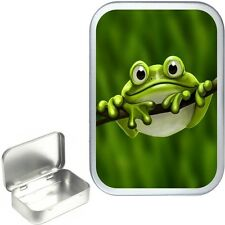 Cute Green Frog Silver Hinged Tin,Sweet Box,Storage Tin,Small Pocket Tin,Pill