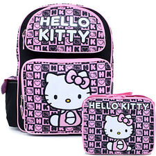 "Sanrio Hello Kitty 16"" Large School Backpack Lunch Bag 2pc Set Black Pink Stamps"