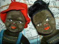 Great PAIR of labeled Norah Wellings BLACK Island, vintage dolls, Lulah & Sammy