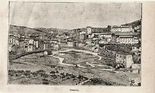 Stampa antica COSENZA veduta panoramica Calabria 1897 Old Print