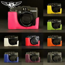 Handmade Real Leather Half Camera Case Camera bag for CANON G16 10 colors