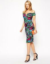 TOPSHOP Animal Print Bardot Bodycon Dress by Rare UK Size 10 BNWT!!! Only2Left!!